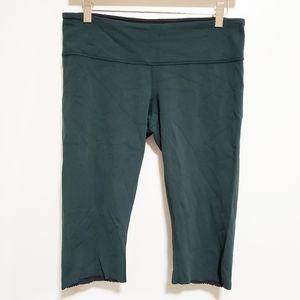 LULULEMON Dark Green Cut Hem Biker Shorts